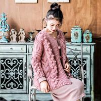 春秋新品粉红色手工球球羊毛针织开衫外套复古文艺森系森女