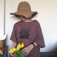 春夏女装韩版原宿风印花百搭圆领宽松短袖T恤学生中袖打底衫上衣