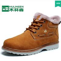 加绒休闲男士棉鞋韩版棉靴短靴真皮靴子男鞋冬季保暖雪地靴