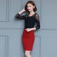 蕾丝打底衫女长袖秋季新款韩版大码女装镂空网纱小衫性感上衣