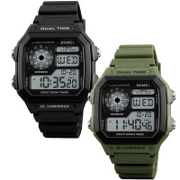 户外军迷手表配饰搭配服装出造型用30M-50M防水可夜光显示黑绿表