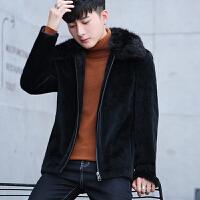 韩版休闲短款风衣男秋冬季修身个性植绒拉链外套青年内夹棉上衣潮