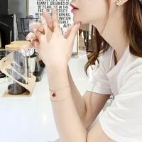 网红同款925银小裙子手链18k金简约日韩时尚红玛瑙小扇子手饰