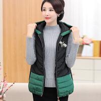 中老年妇女装马甲棉衣外套妈妈冬装无袖棉袄中年短款马夹外套 XL (95-110斤)