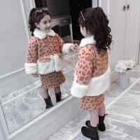 儿童套装冬季2018新款夹棉外套厚款裙子女孩洋气两件套