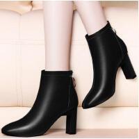 新款古奇天伦百搭韩版方头粗跟短靴裸靴马丁靴高跟女鞋秋冬季