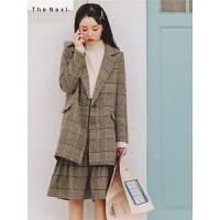 韩版格子小西装外套冬季女装2019新款中长款宽松港味复古chic西服