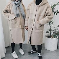 情侣鹿皮绒外套男女中长款韩版宽松羊羔毛皮毛一体冬季学生bf大衣
