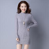 冬天女士半高领打底毛衣女羊毛衫中长款套头包臀加厚百搭中领针织