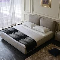 布艺床小户型简约现代1.8米储物床可拆洗软床主卧双人床布床 浅灰色 乳胶椰棕两用床垫