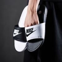 NIKE耐克男鞋拖鞋2018新款黑白情侣鸳鸯休闲运动沙滩凉鞋818736