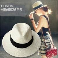 夏季遮阳帽子女可折叠草帽女太阳帽防晒帽礼帽出游沙滩帽度假海边 M(56-58cm)