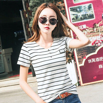 夏季新款简约修身条纹T恤女短袖韩版棉质半袖打底衫潮上衣