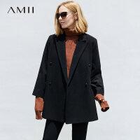 Amii[极简主义]睿智知性翻驳领羊毛呢外套女冬双排扣九分袖上衣
