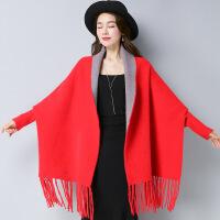 秋冬新款女装针织开衫中长款韩版流苏斗篷披肩毛衣外套女 均码