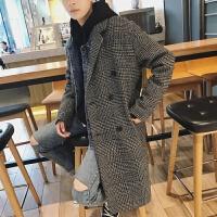 冬装男士双排扣中长款妮子大衣男韩版宽松青年毛呢外套加厚潮帅气