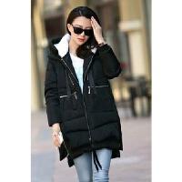 处理冬装女装韩版大码时尚中长款军工装加厚宽松棉衣女外套 黑色 132款