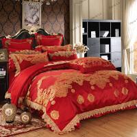 家纺大红色全棉四件套床上用品结婚多件套欧式贡缎六件套