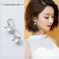 蝴蝶结珍珠耳环气质短款925纯银吊坠时尚简约女士耳饰