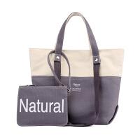 简约女包帆布包休闲百搭女士单肩包文艺范子母包百搭购物袋手提包