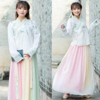 实拍 传统改良汉服 彩虹色袄裙套装绣花一片式半裙拼色长裙