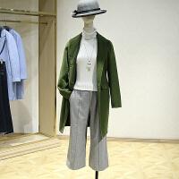 双面呢大衣女冬装新款 韩版刺绣中长款修身一粒扣毛呢外套