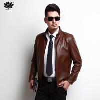 逸线印品(EASZin)男装皮衣 仿真皮皮衣 男士2016秋冬新款立领韩版修身皮夹克外套