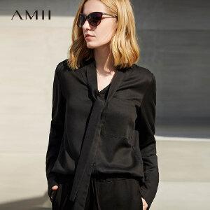 Amii极简原宿白色蝴蝶结系带衬衫女2018秋新时尚设计感宽松衬衣