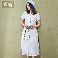 森宿修身纯色复古文艺中长裙子夏装收腰百搭短袖套头连衣裙女