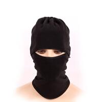 超保暖 防风护脸面罩自行车山地车 摩托车电动车头盔全罩 CS头罩抓绒黑色头套