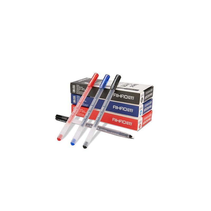 中性笔爱好大容量水性笔 黑色笔芯学生用品碳素签字笔红笔 买三送一盒黑色
