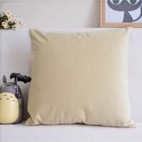 美式天鹅绒黄色抱枕套不含芯沙发靠枕正方形腰枕头客厅大靠垫订做J