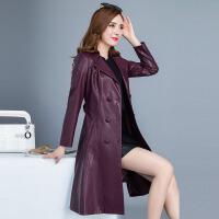 女款皮衣2017秋装新款修身显瘦中长款长袖中年春秋pu皮外套皮夹克