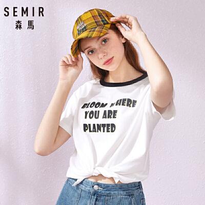 森马2019夏季新款短袖T恤女打结t字母印花学生韩版潮流宽松上衣