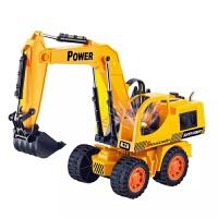 儿童仿真电动挖掘机模型工程车闪光玩具车男孩小孩内附电池充电器玩具 金色