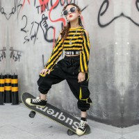 儿童嘻哈表演女孩爵士舞春季小学生衣服女童街舞装