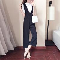 2018新款女装夏季韩版时尚潮气质小香风背带阔腿裤套装名媛两件套 黑色