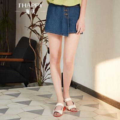 海贝2018夏装新款女 高腰不规则下摆蓝色牛仔裤短裤时尚百搭裤裙