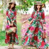 实拍民族中国风女装春夏季新款打底裙沙滩裙长裙配腰带少女连衣裙