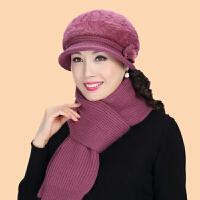 中老年帽女冬天中年妈妈围巾老人帽子兔毛针织毛线帽奶奶帽鸭舌帽