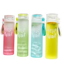 韩国耐热磨砂玻璃杯便携女士水杯随手杯创意柠檬防漏渐变杯子水瓶