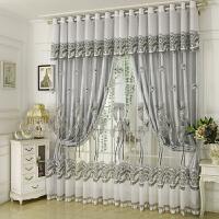 欧式窗帘布遮光卧室新款婚房落地窗纱双层窗帘成品简约现代客厅J