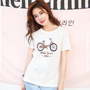 夏装新品韩版宽松百搭圆领短袖棉T恤自行车印花短袖小衫潮