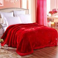家纺2017秋冬季新款棉被子大红色婚庆加厚毛毯盖毯双层结婚毯子毛毯床上用品 200cmX230cm绣花毯10斤双层加厚