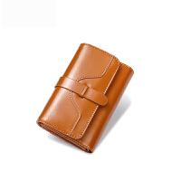 韩版新款女士钱包女短款三折复古油蜡牛皮搭扣小零钱夹