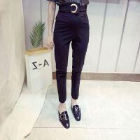 黑色九分裤女春季18新款薄款版显瘦小脚西裤女士春夏西装裤子