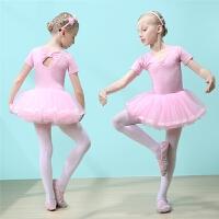 夏季短袖儿童舞蹈服女童练功服考级服女孩跳舞纱裙幼儿芭蕾舞裙