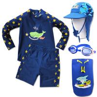时尚男童防晒冲浪泳衣小童婴儿沙滩泳装分体泳衣长袖 可礼品卡支付