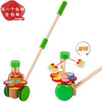 卡通幼儿学步动物手推车玩具宝宝学步1-3岁 儿童木质单杆推推乐