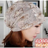 韩版潮帽子女夏薄款蕾丝花朵头巾围脖两用镂空调月子化疗堆堆睡帽